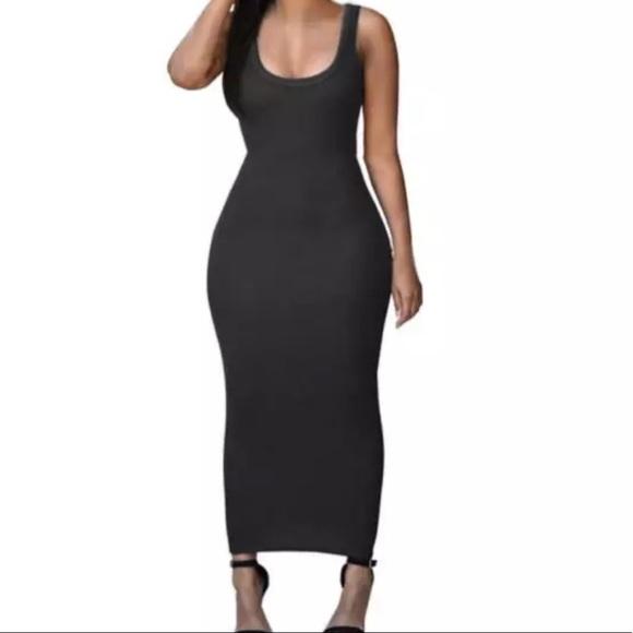 7dabb0b31a6 NWT Black cotton blend maxi tank bodycon dress